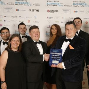 Edward Cooper Young win Leicester Mercury Business Award sponsored by Data Clarity
